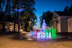 Jurmala at night. Jurmala colorful city fountain at night, Latvia Royalty Free Stock Image