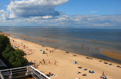 Jurmala with the Riga gulf is the central resort i. Aerial view on golden sandy beach of Jurmala - famous resort and recreation Baltic city in Latvia, Europe royalty free stock image