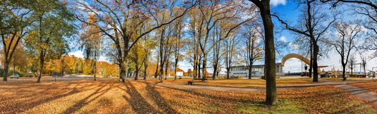 Panoramic view on a public autumnal park in Jurmala, Latvia Royalty Free Stock Photography