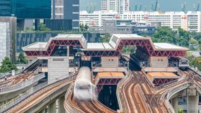 Jurong East Interchange metro station aerial timelapse, one of the major integrated public transportation hub in. Singapore. Passenger can change between Bus stock video footage