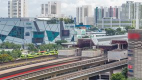 Jurong East Interchange metro station aerial timelapse, one of the major integrated public transportation hub in stock footage