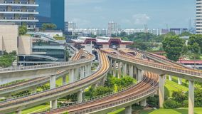 Jurong East Interchange metro station aerial timelapse, one of the major integrated public transportation hub in stock video footage