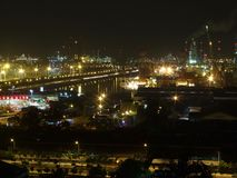 Jurong Island by night. View of Jurong Island with lots of sparkling lights by night Royalty Free Stock Photography
