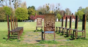 The Jurors, artwork at Runnymede, Surrey. Twelve bronze chairs, with depictions of scenes throughout history  on both the front and back, relating to freedom royalty free stock photography