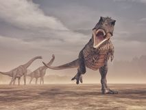 Jurrasic plats - våldsamt anfalla för Trex dinosaurie Fotografering för Bildbyråer