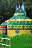 Jurta model pokazywać przy Sabantui świętowaniem w Moskwa Zdjęcie Stock