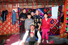 Jurta obóz w środkowym Azja Obraz Stock