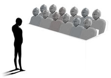 The jury. A small person standing in front of a jury in the court Royalty Free Stock Photos