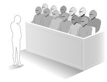 The jury. A small person standing in front of a jury in the court Royalty Free Stock Photo