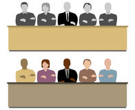 The jury. Two versions of illustration in front of a jury in the court  different skin color of the persons and one with grey skin color Stock Image