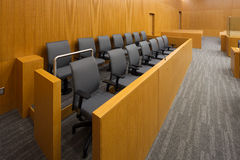 Jury box. In a new court room royalty free stock photos