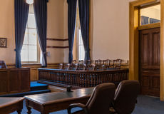 Jury box, Virginia City, Nevada, Storey County courthouse Royalty Free Stock Images