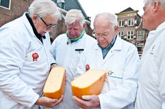 The jury at cheese market in Alkmaar. North Holland, Netherlands, 29.03.2013 Stock Photos