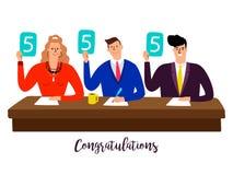 Jury de concurrence Juges de concours avec des panneaux de score au concept de vecteur de table illustration de vecteur