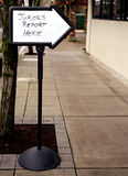 Jury Duty Direction Sign. An arrow sign giving directions for Jurors stock photo