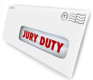 Jury Duty Envelope Summons Appear Court Legal Law Case. Jury Duty words on a letter in an envelope summoning you to appear in court to serve in judgment and Royalty Free Stock Photography