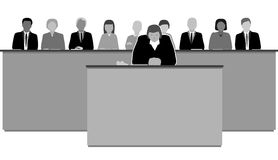 The jury. Female judge and jury in the courtroom Royalty Free Stock Photos