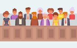Jury i rätten vektor cartoon stock illustrationer
