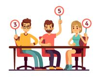 Jury judges holding scorecards. Quiz people show competition vector concept. Jury group committee, holding scorecard with number illustration Royalty Free Stock Photo