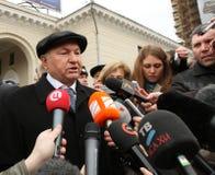 Jury Luzhkov near metro station Park Kultury Stock Image