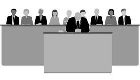 The jury. Male judge and jury in the courtroom Stock Image