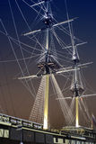 Jury-masts And Rope Of Sailing Ship In The Dark Royalty Free Stock Images