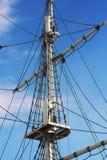 Jury-masts and rope of sailing ship.  Royalty Free Stock Image