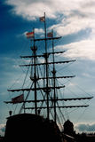 Jury-masts and rope of sailing ship Royalty Free Stock Photography