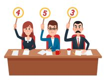 jury Richtergruppen-Showspielstandskarten mit Einschätzungsmeinung oder -ergebnis Richter auf Quizshow, Collegebewertungsvektor stock abbildung