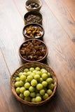 Jus d'Amla ou d'avla, conserves au vinaigre, supari, murabba, chyawanprash Images stock