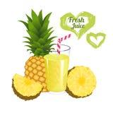 Jus d'ananas d'isolement sur le fond blanc Verre de vecteur frais de jus d'ananas Image libre de droits