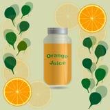 Jus d'orange dans une bouteille de pot sur un fond avec les tranches oranges illustration libre de droits