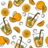 Jus d'orange dans une glace Modèle sans couture avec frais naturel Tranche orange, tube pour le boire Aliment biologique sain Cit illustration stock
