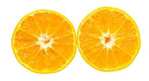 Jus d'orange en sinaasappelen geïsoleerdef achtergrond Stock Fotografie