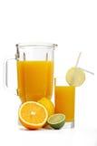 Jus d'orange et mélangeur Image stock
