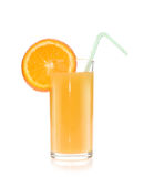 Jus d'orange et parts d'orange Photographie stock
