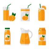 Jus d'orange geïsoleerde pictogrammen op witte achtergrond Royalty-vrije Stock Afbeeldingen