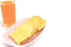 Jus d'orange met broodboter Royalty-vrije Stock Fotografie