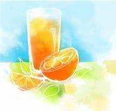 Jus d'orange met plakken van sinaasappel en bladeren Het Schilderen van de waterverf Gezond voedselconcept Stock Afbeeldingen