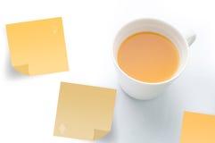Jus d'orange met post-itdocument Stock Fotografie