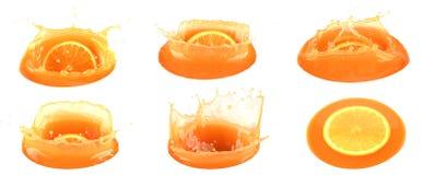 Jus d'orangeplons op wit geïsoleerde achtergrond royalty-vrije stock foto