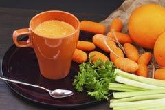 Jus de carotte, céleri, orange et chapeau Photos stock