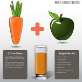 Jus de carotte d'Apple, sur un fond gris Illustration de vecteur Photos stock
