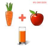 Jus de carotte d'Apple, sur un fond gris Vecteur illustration de vecteur