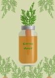 Jus de carotte dans le pot avec des carottes à l'intérieur illustration stock