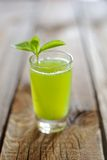 Jus de concombre avec les feuilles en bon état Photographie stock libre de droits