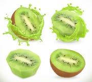 Jus de fruit de kiwi Fruits frais et éclaboussure, icône de vecteur illustration stock