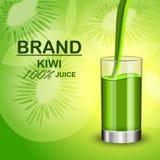 Jus de kiwi à l'arrière-plan en verre de concept, style réaliste Illustration Stock