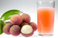 Jus de litchi et de litchi Photos stock