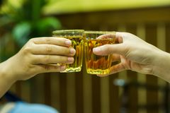 Jus de main et de boisson alcoolisée dans la boisson alcoolisée potable de magasin de vins et de spiritueux E photos libres de droits
